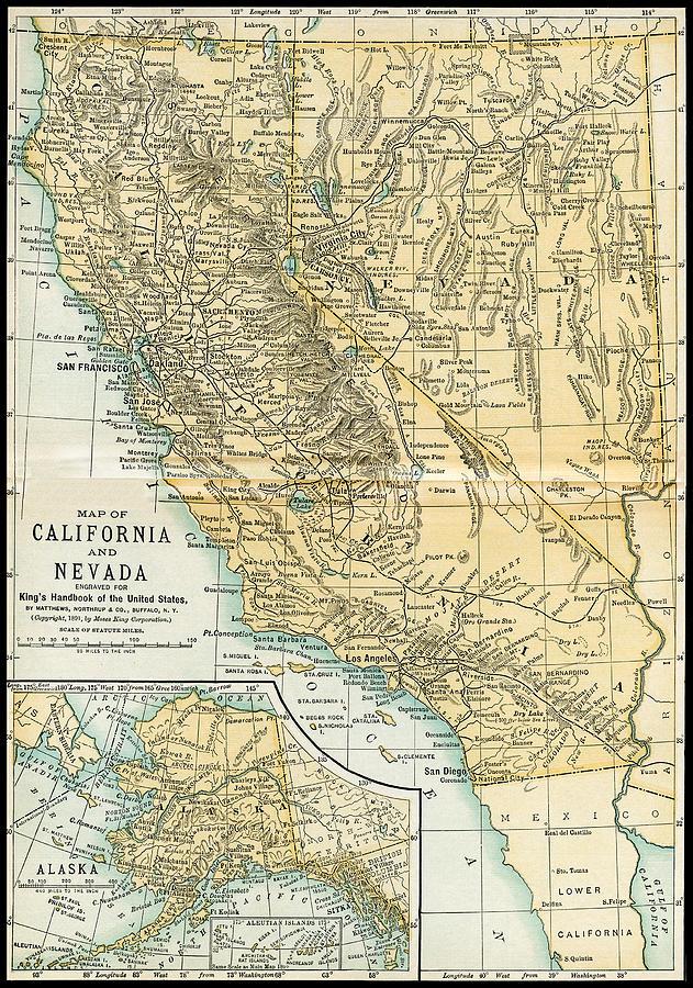 California Nevada Alaska Antique Map 1891