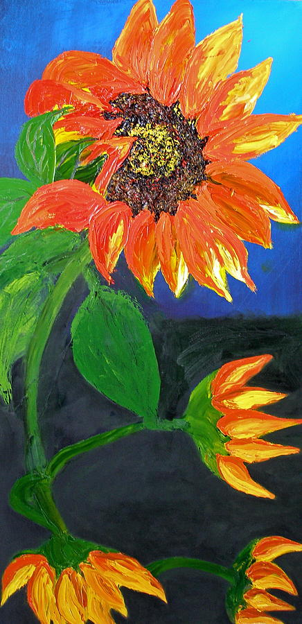 California Orange Abstract Sunflower Painting by Portland Art Creations