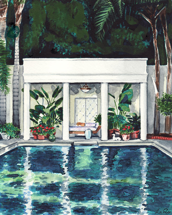 California Big Houses With Pools: California Pool House Greek Revival Painting By Laura Row