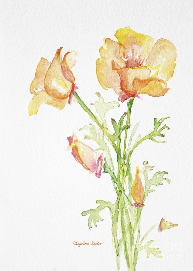 California Poppy Bunch watercolor Painting by CheyAnne Sexton
