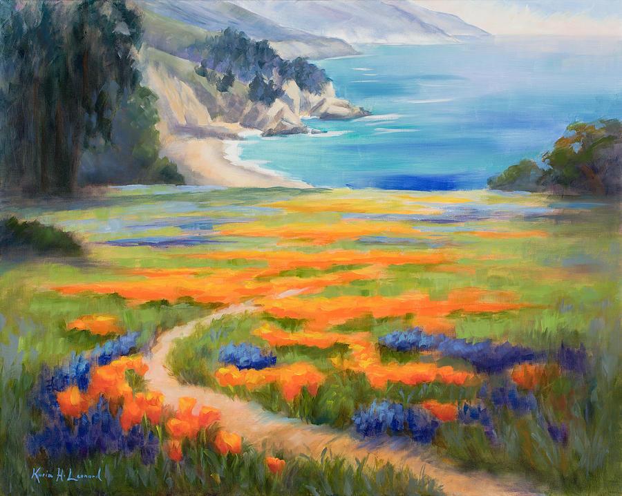 Big Sur Painting - California Spring Big Sur by Karin  Leonard