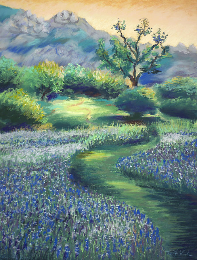 Lupines Painting - California Spring by Karin  Leonard