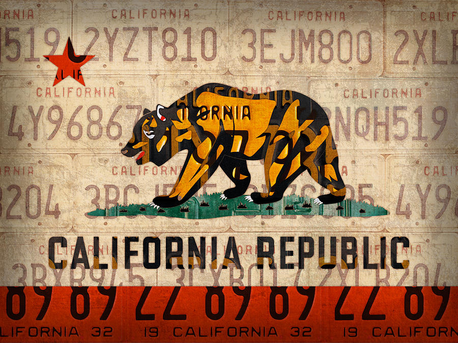 California Mixed Media - California State Flag Recycled Vintage License Plate Art by Design Turnpike