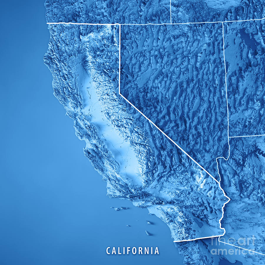 California Digital Art - California State USA 3D Render Topographic Map Blue Border by Frank Ramspott