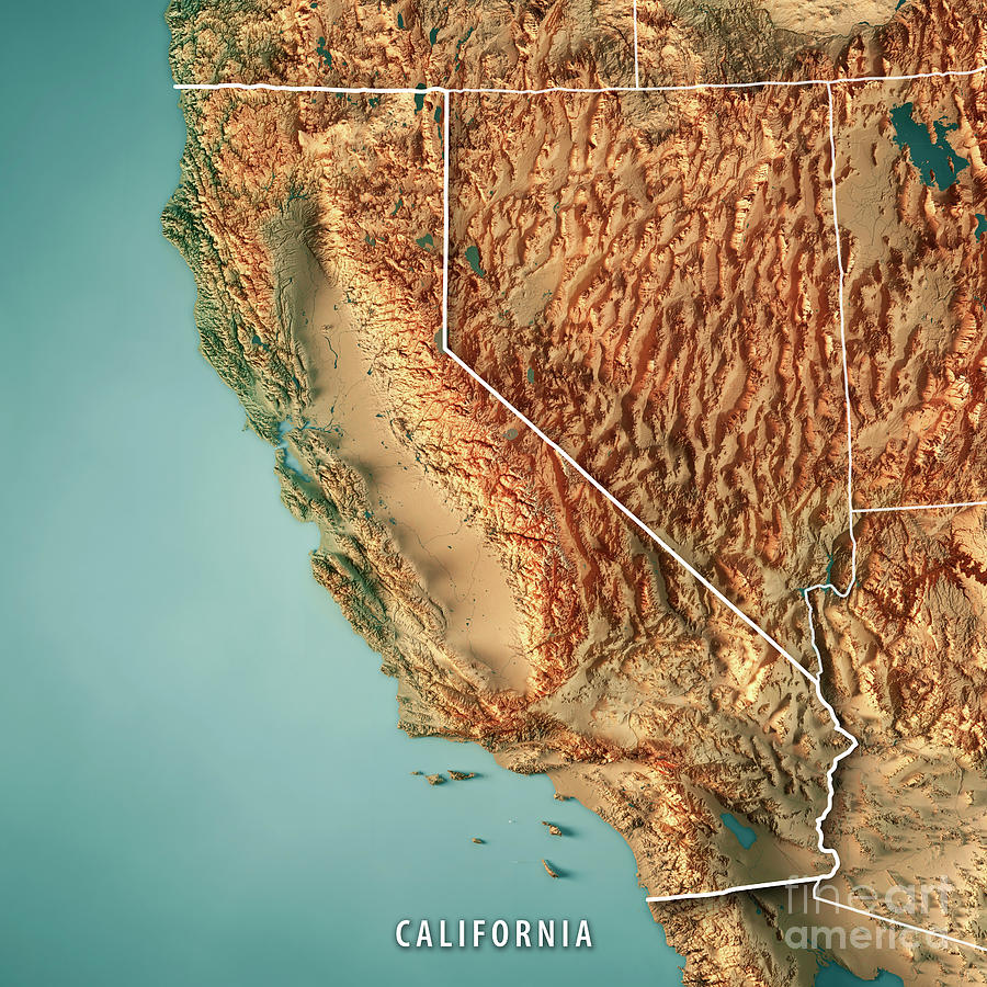 Map Of California Usa.California State Usa 3d Render Topographic Map Border By Frank Ramspott