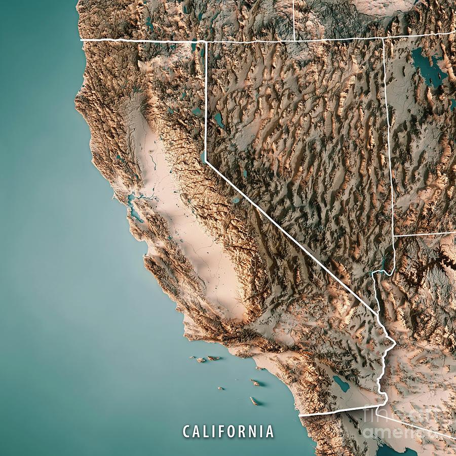 California Digital Art - California State USA 3D Render Topographic Map Neutral Border by Frank Ramspott
