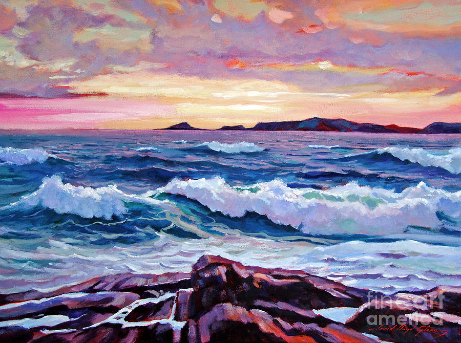 Waves Painting - California Sunset by David Lloyd Glover