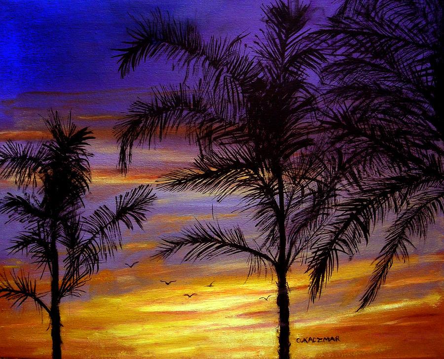 Landscape Painting - California Sunset by Olga Kaczmar