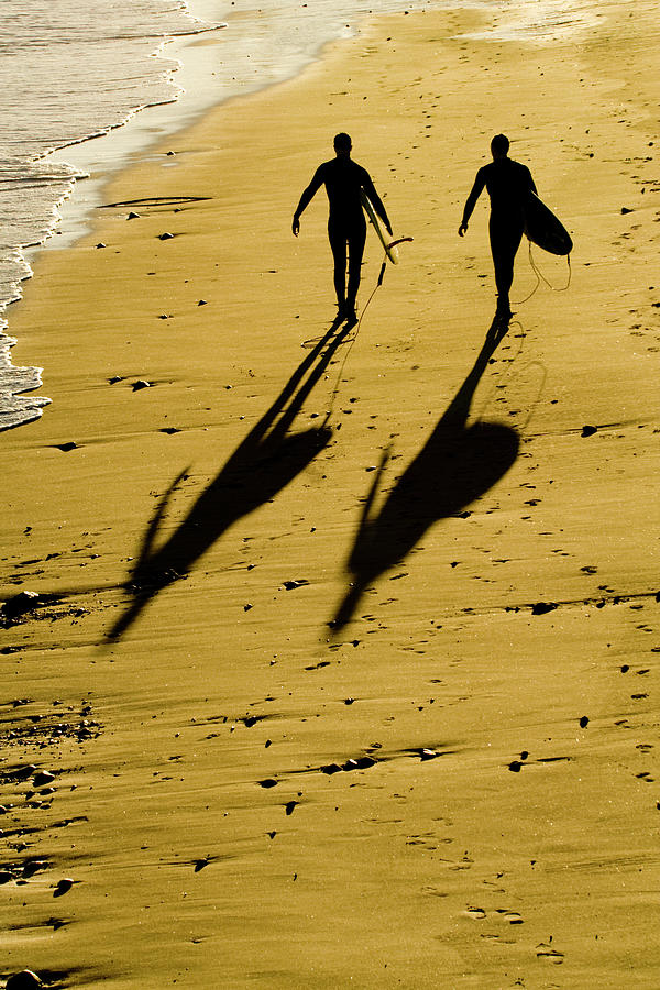 Two Photograph - California Surfers On The Beach by Sharon Foelz