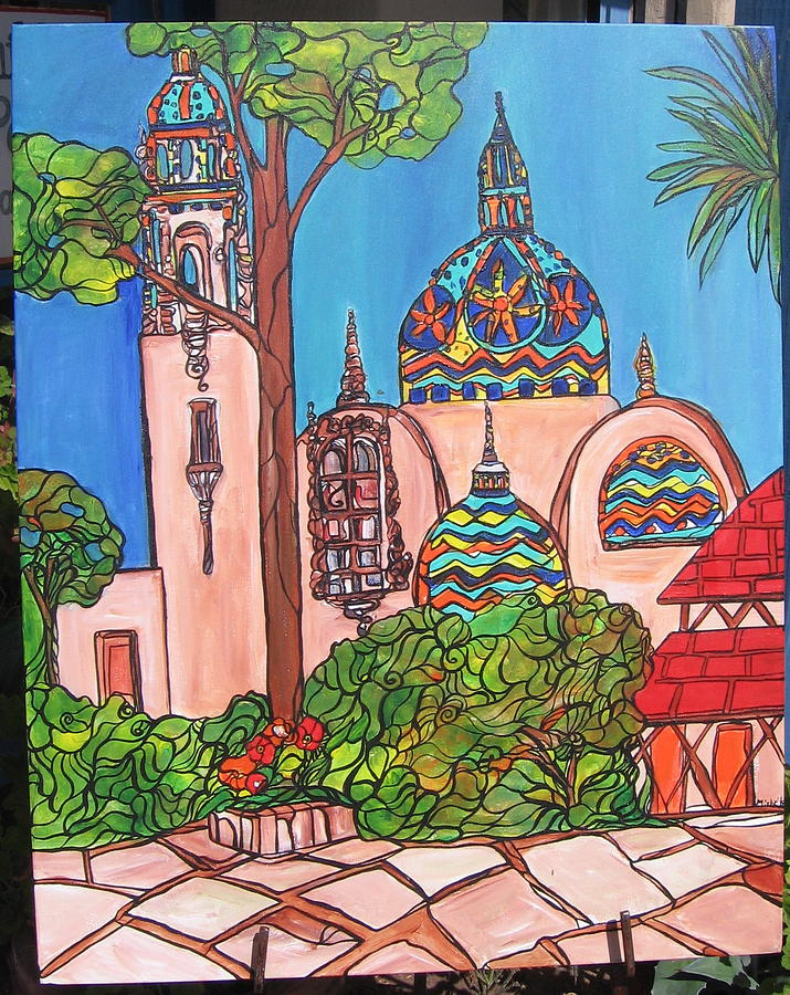 California Towers-balboa Park-san Diego Painting by Michelle Gonzalez