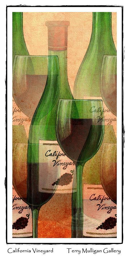 California Digital Art - California Vineyard Wine Bottle And Glass by Terry Mulligan