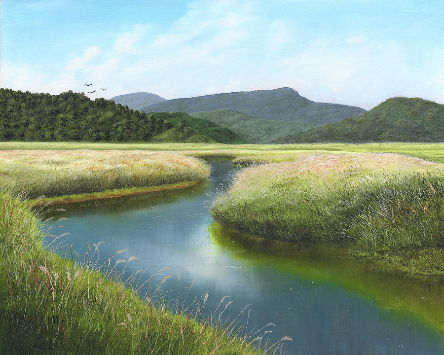 Reflections Painting - California Wetlands 2 by Kathie Miller