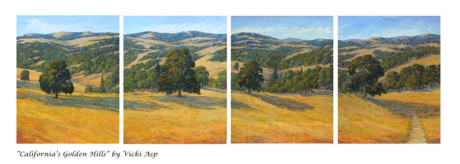 Landscape Painting - Californias Golden Hills by Vicki Asp