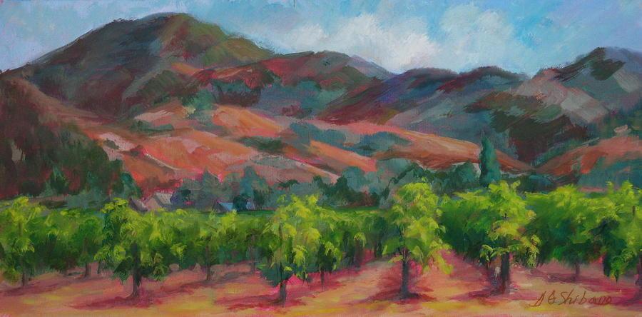 Calistoga Painting - Calistoga Vineyards  by Deirdre Shibano