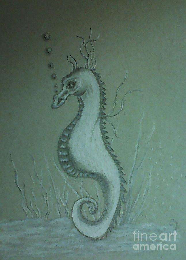 Seahorse Drawing - Call Me Bubbles by Ginny Youngblood