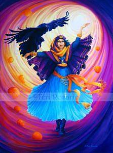 Raven Painting - Call Of The Raven - The Spirit Totem Series  by Teri Rosario
