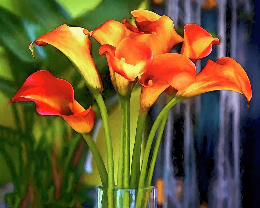 Flowers Digital Art - Calla Lilies Bouquet by Casey Heisler