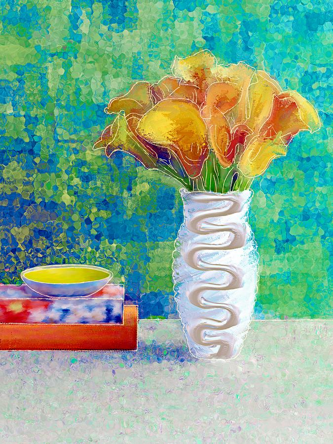 Flowers Painting - Calla Lilies In Bloom by Debra Jones