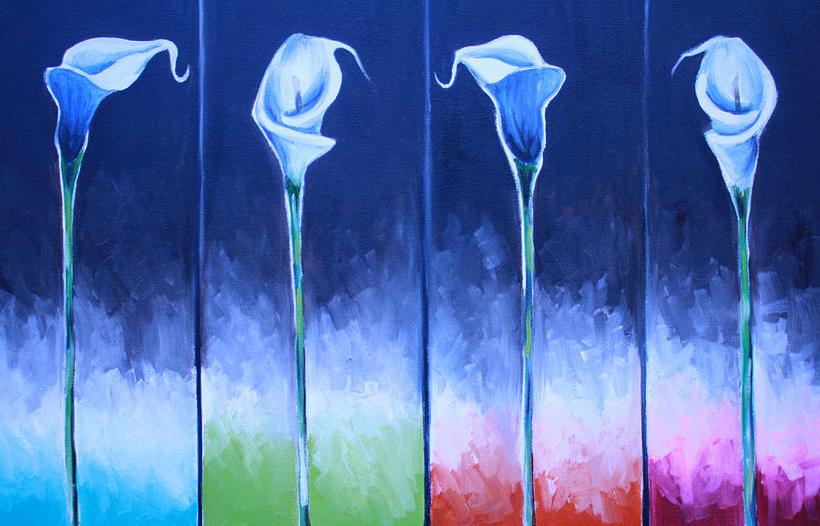 Blue Calla Lilies Painting - Calla Lilies by Mikayla Ziegler