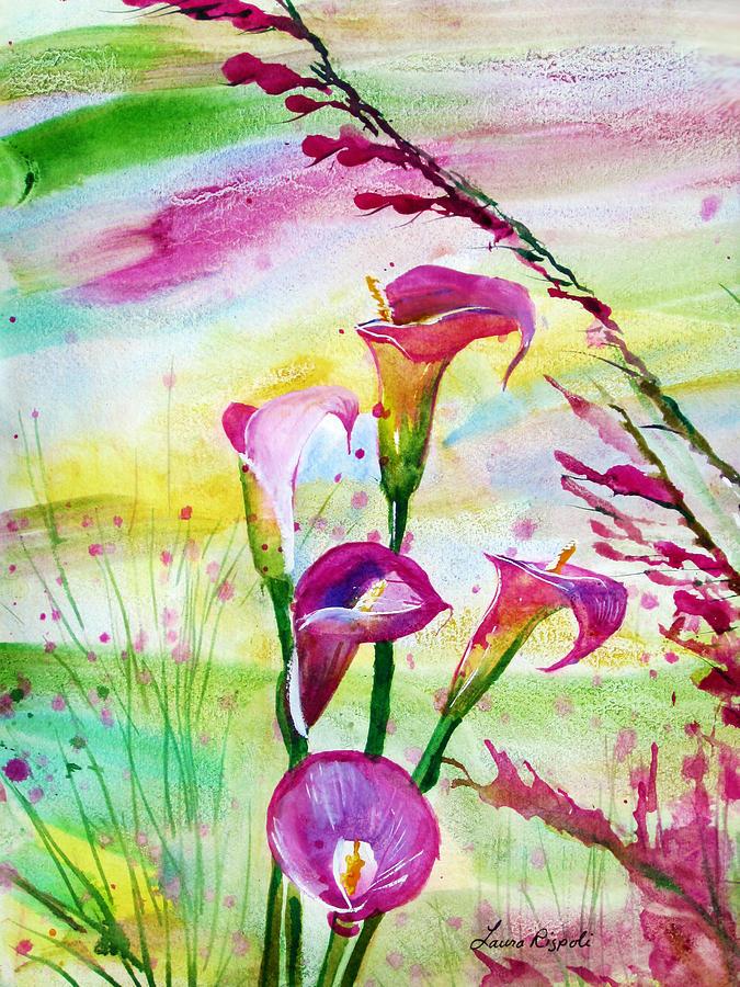 Calla Lillies Painting - Calla Lillies by Laura Rispoli