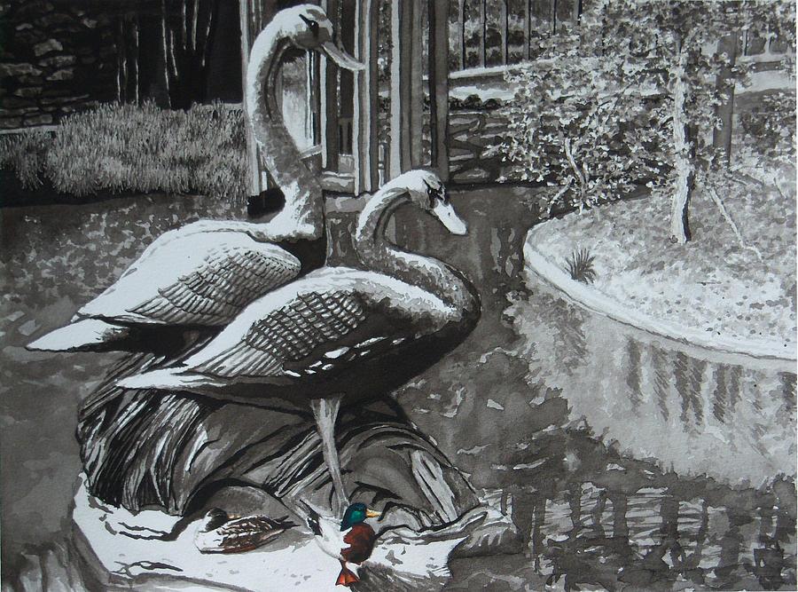 Landscape Painting - Callaway Mallard Ducks by Beth Parrish