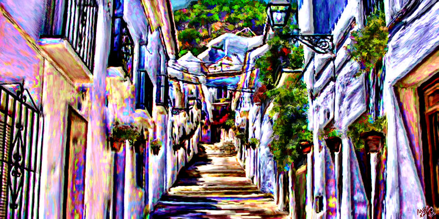 Typical Painting - Calle Tipica en Mijas by Bruce Nutting