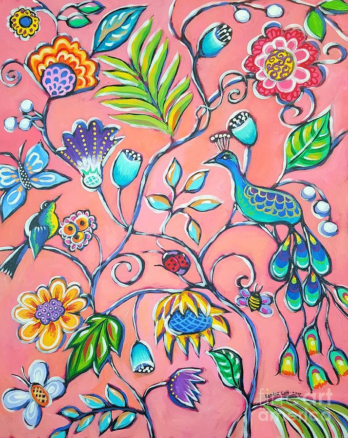 Peacock Painting - Callies Garden by Sandra Lett