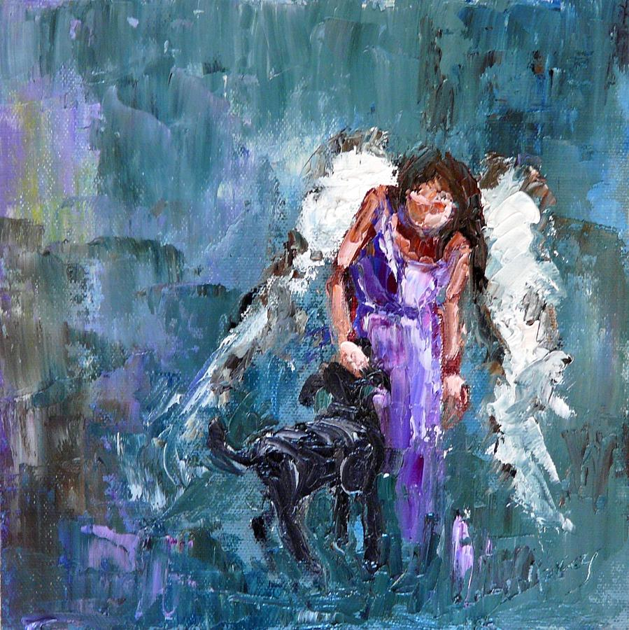 Dog Painting - Calling All Angels by Judy Mackey