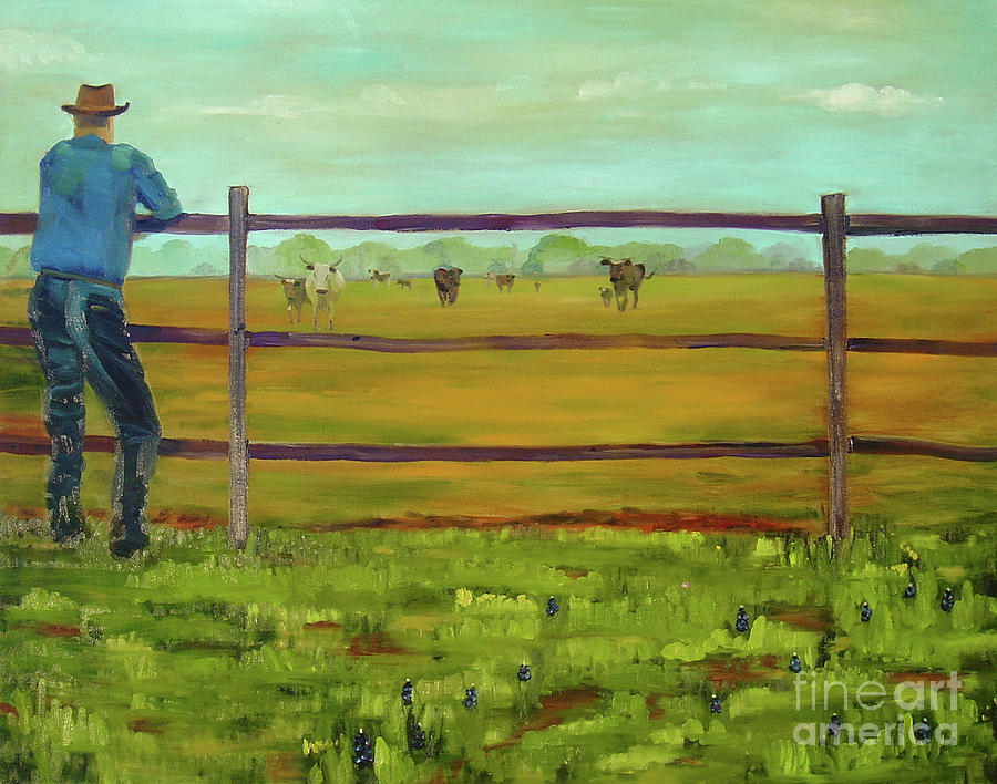 Western Painting - Calling em Home by Lilibeth Andre