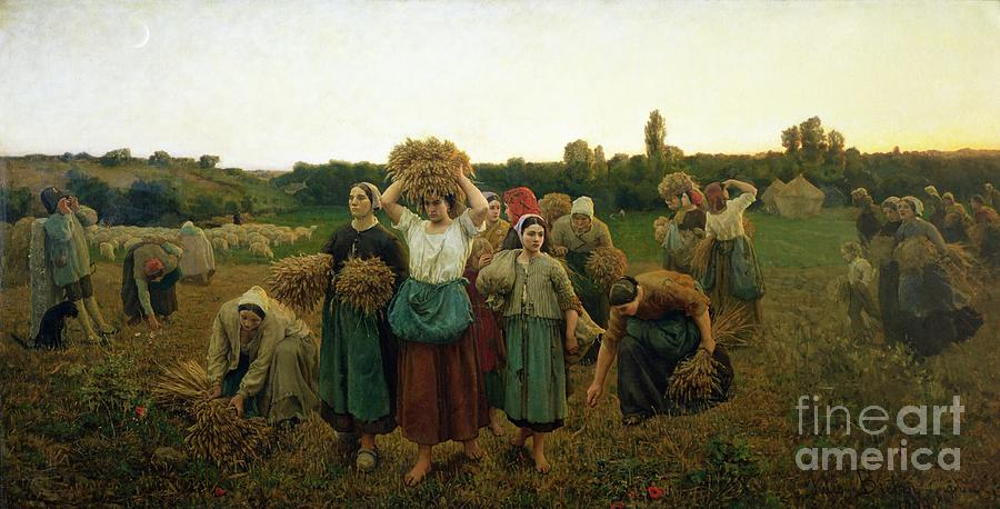 Calling Painting - Calling In The Gleaners by Jules Breton