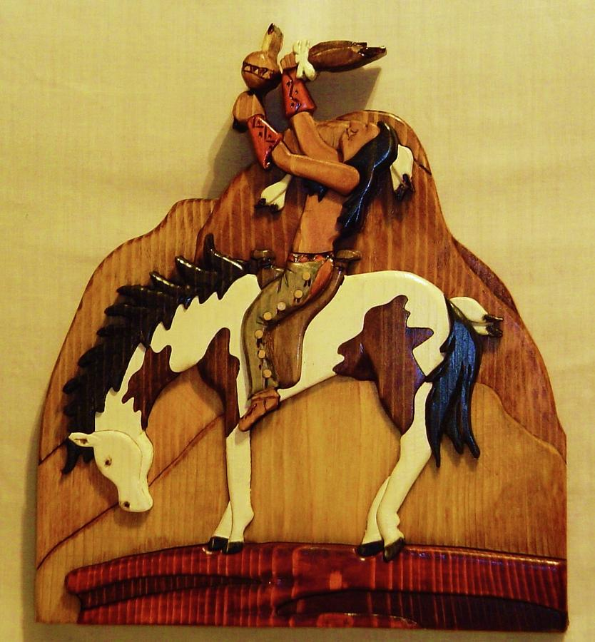Intarsia Sculpture - Calling The Great Spirit by Russell Ellingsworth