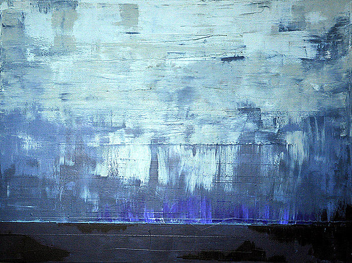 Abstract Blue Painting - Calm Before by Kate Tesch