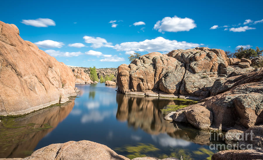 Landscape Photograph - Calm Reflections At Watson Lake by Leo Bounds