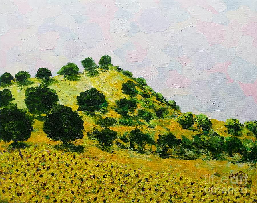 Calm Sky Morning Hill Painting