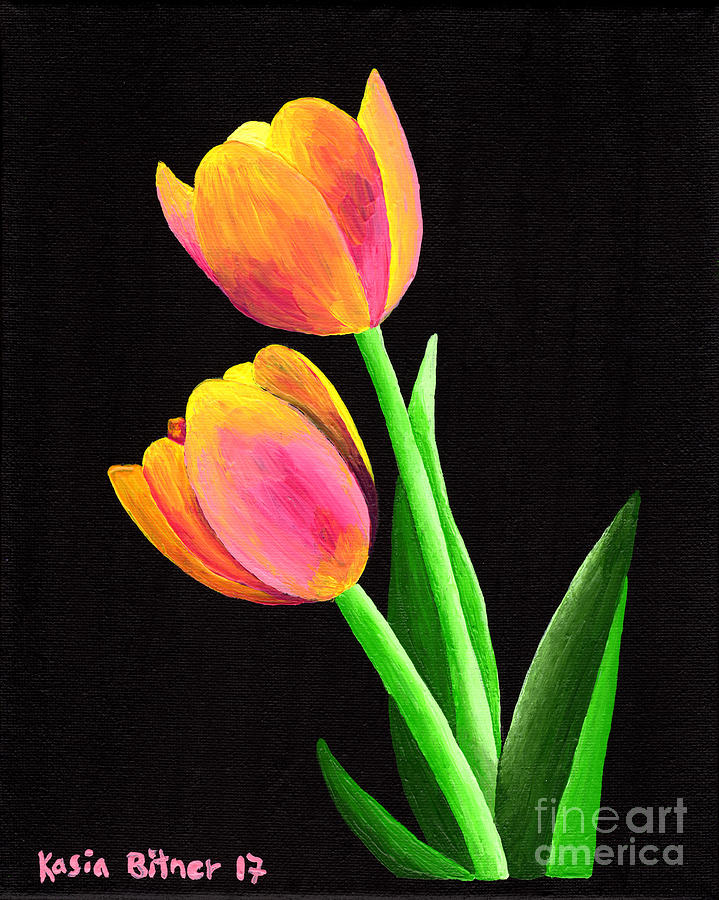 Kasia Painting - Calm Tulips by Kasia Bitner