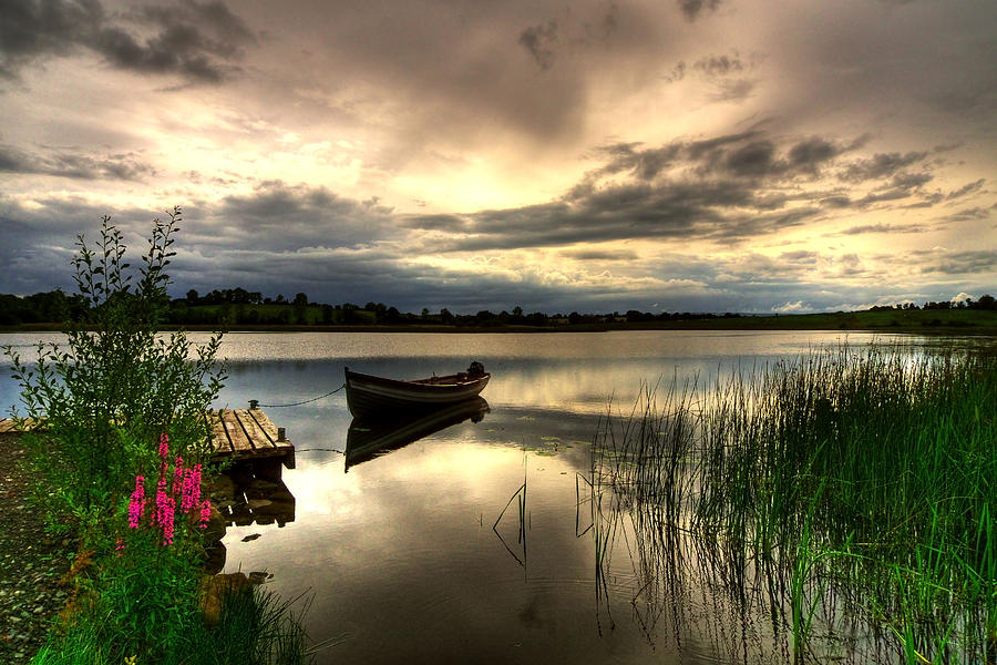 Boat Photograph - Calm Waters On Lough Erne by Kim Shatwell-Irishphotographer