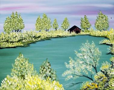 Lake Painting - Calming Waters by Nadine  Estes