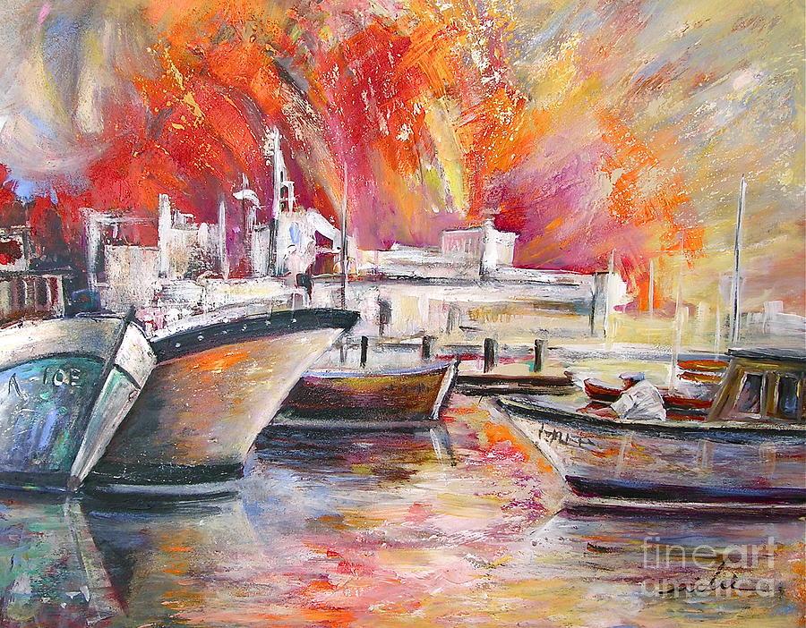 Calpe Harbour Spain Painting