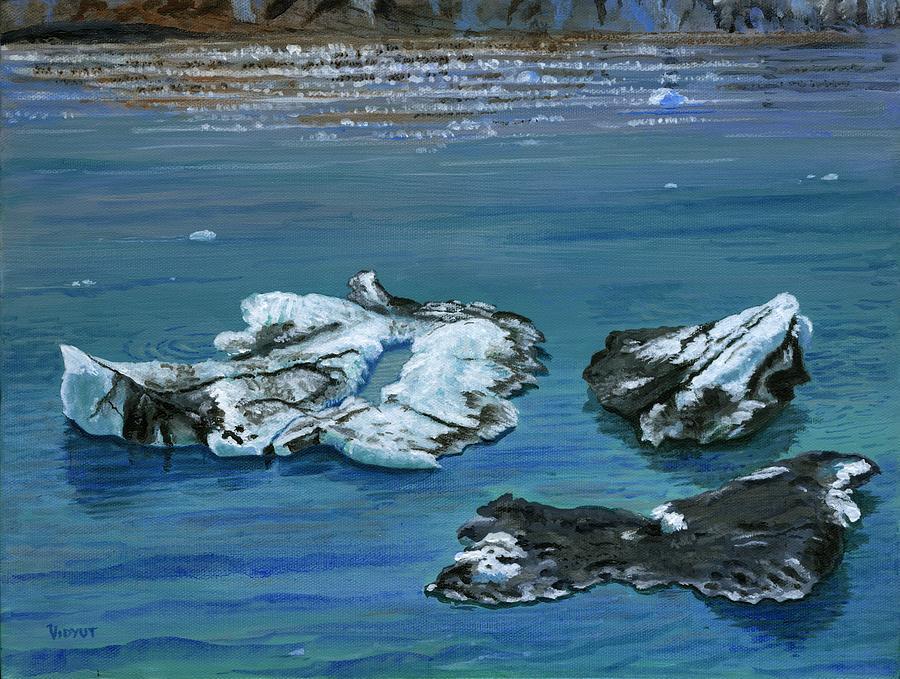 Alaska Painting - Calved Glaciers Alaska by Vidyut Singhal