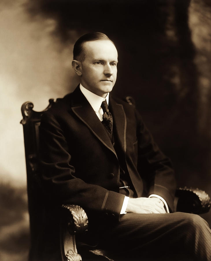 Calvin Coolidge Photograph - Calvin Coolidge Portrait by War Is Hell Store