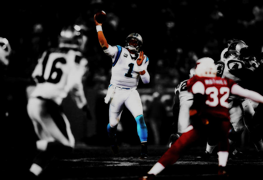 Cam Newton On Target Mixed Media by Brian Reaves a7673ee1f
