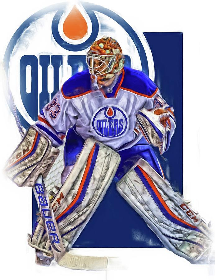 995c7cc6398 ... 33 cam talbot orange alternate stitched nhl jersey Edmonton Oilers  Mixed Media - Cam Talbot Edmonton Oilers Oil Art by Joe Hamilton .
