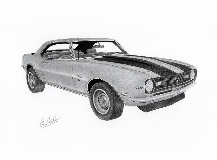 Camaro 1968 Drawing By Claude Prud Homme