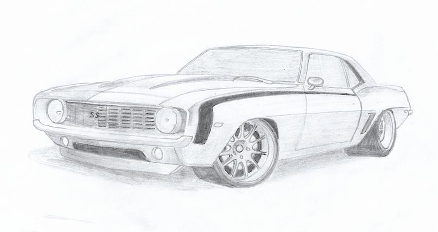 Camaro Ss Drawing By Leslie Schofield
