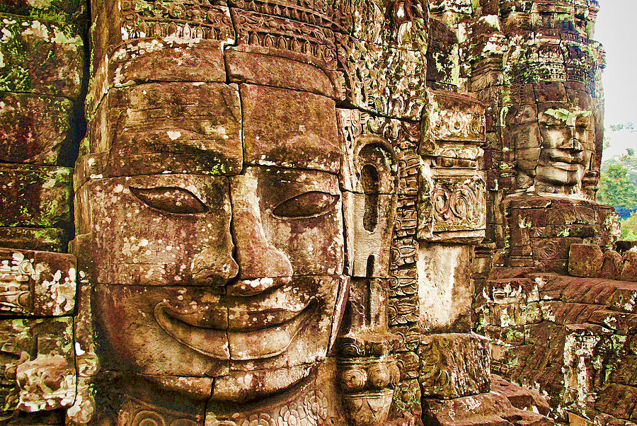 Cambodia Photograph - Cambodia Faces  by Dennis Cox WorldViews