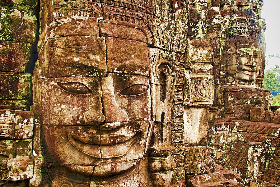 Cambodia Photograph - Cambodia Faces  by Dennis Cox