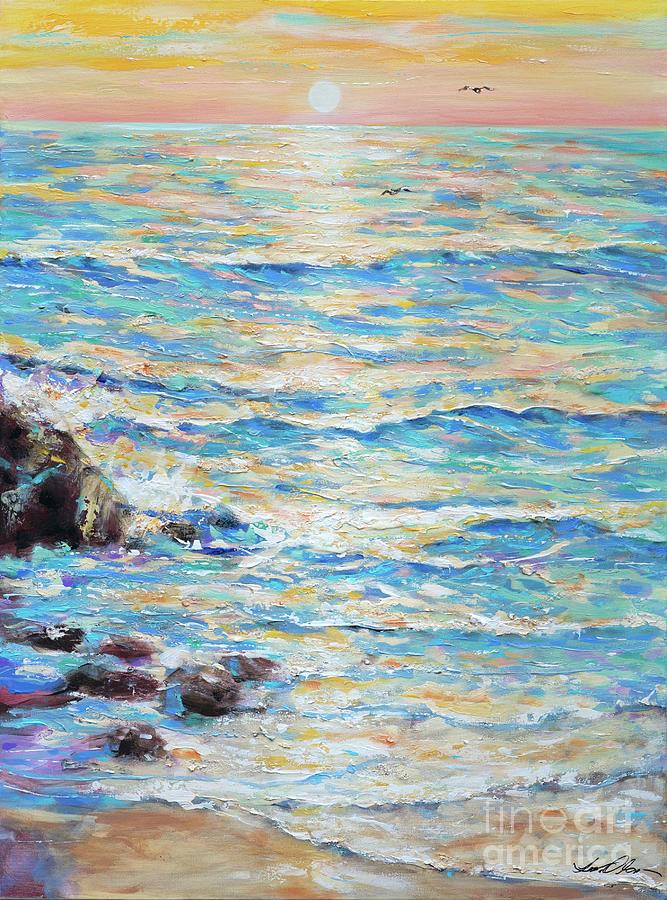 Ocean Painting - Cambria Rocks by Linda Olsen