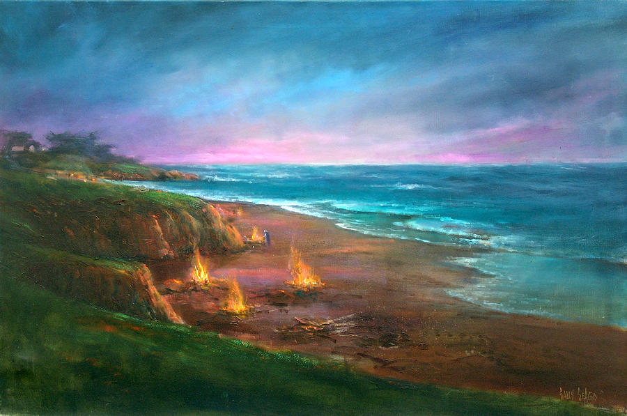 Ocean Painting - Cambrias 4th Of July by Sally Seago