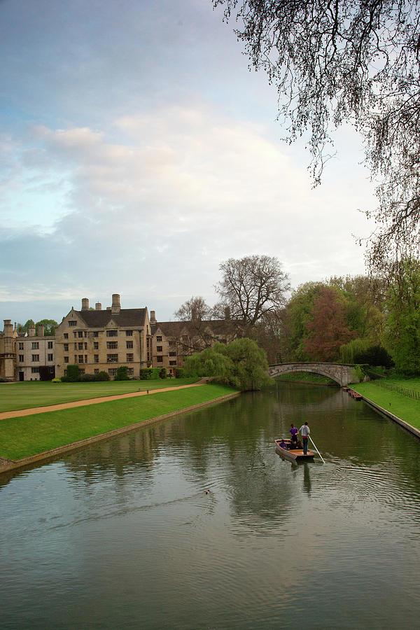 Stratford Photograph - Cambridge Clare College Stream And Boat by Douglas Barnett