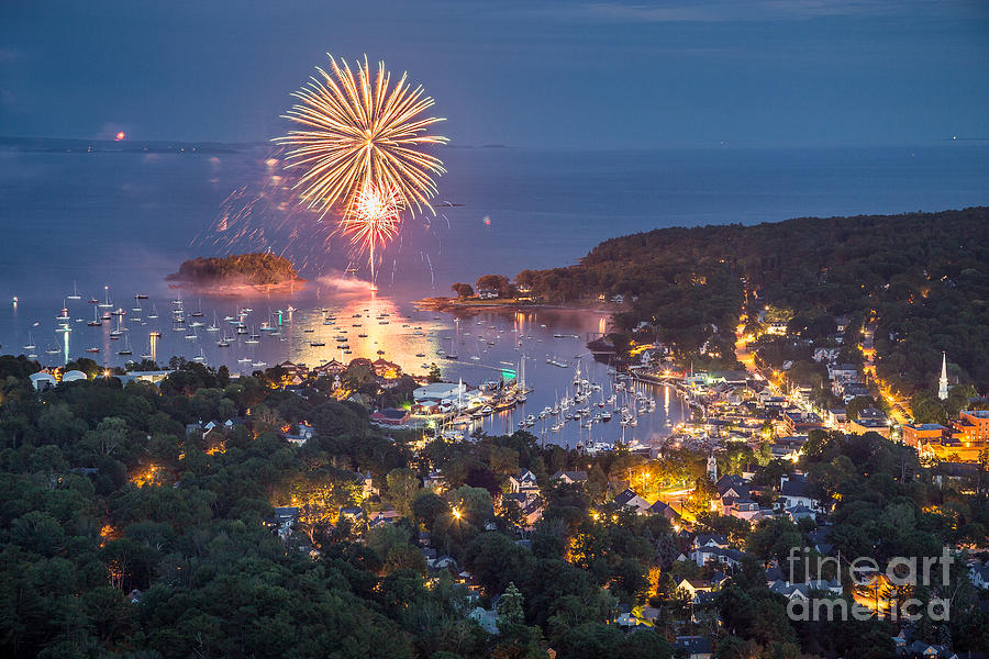 4th Of July Photograph - Camden Fireworks from Mount Battie by Benjamin Williamson